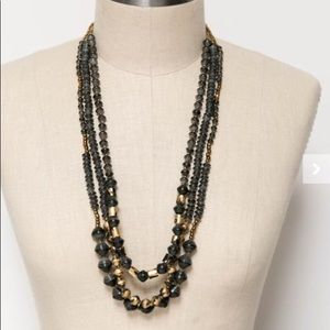 31 Bits Mixed Layers Beaded Necklace, Black & Gold